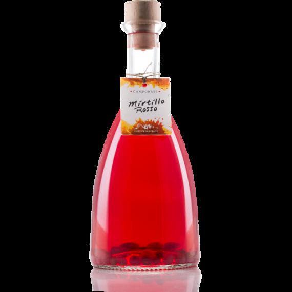Fresco liquore montano dal profumo intenso di Mirtillo Rosso, dal colore rosso intenso e brillante, attrae anche per il suo intrigante aspetto con i veri mirtilli rossi in sospensione..
